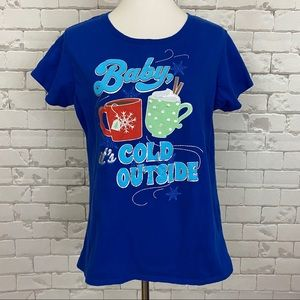 Baby it's Cold Outside Christmas Tee XL